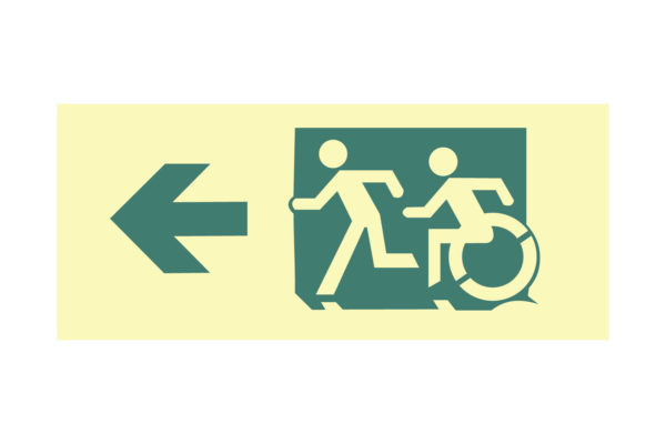 12″ x 5″ Public & Handicapped Access Facing Left Directing Up to Left