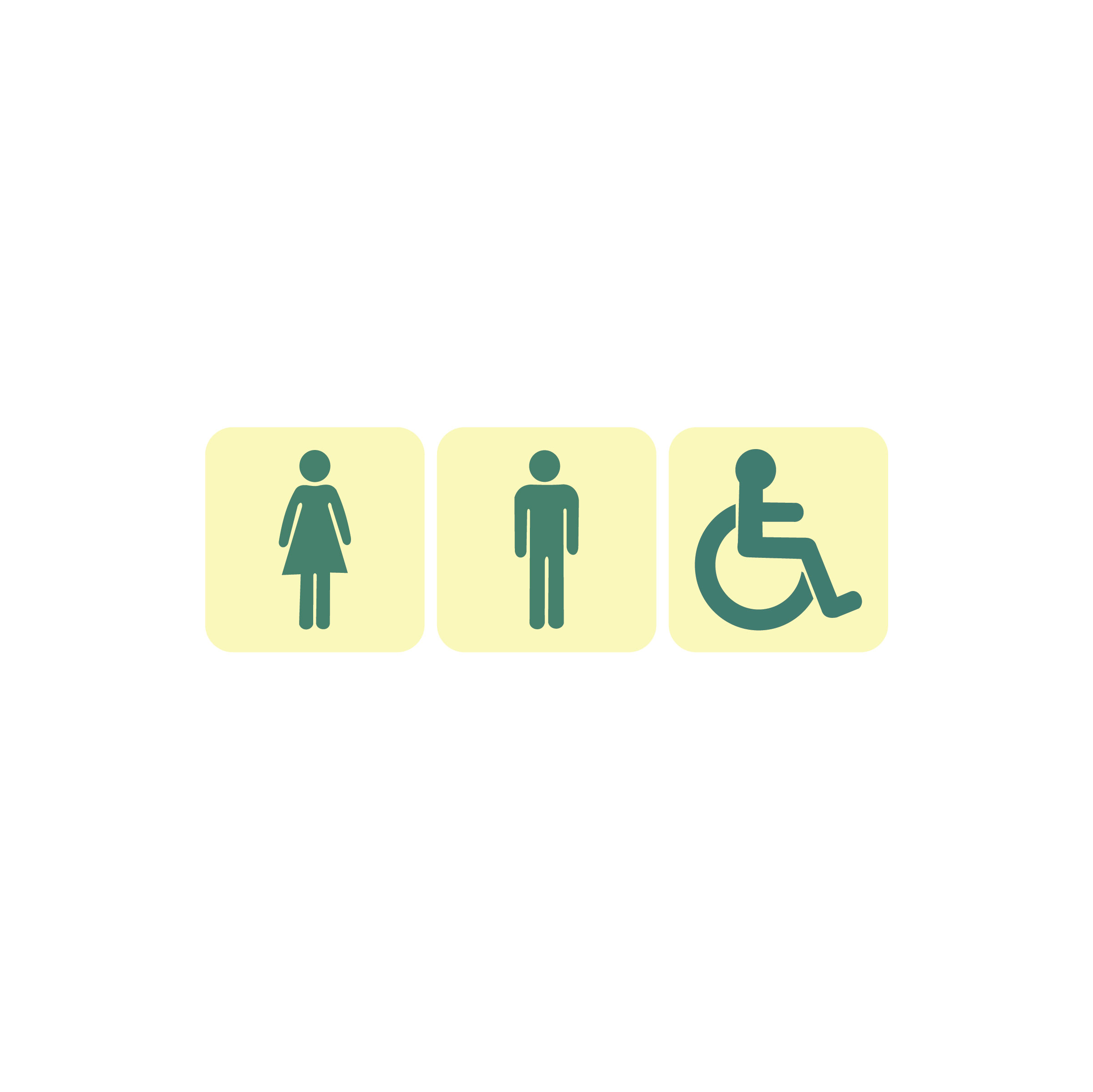 Public & Handicapped Restrooms - Set of 3 Image