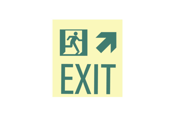 8.5″ x 10″ Exit Man Arrow Facing Right Directing Up and Right