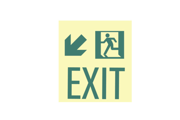 8.5″ x 10″ Exit Man Arrow Facing Left Directing Down and Left