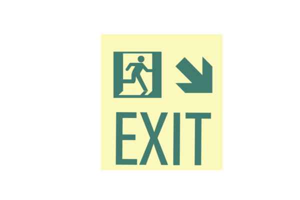 8.5″ x 10″ Exit Man Arrow Facing Right Directing Down and Right