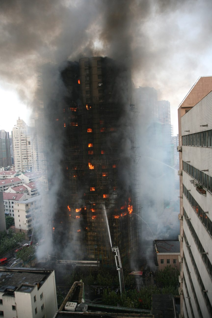 High Rise Apartment Building on Fire
