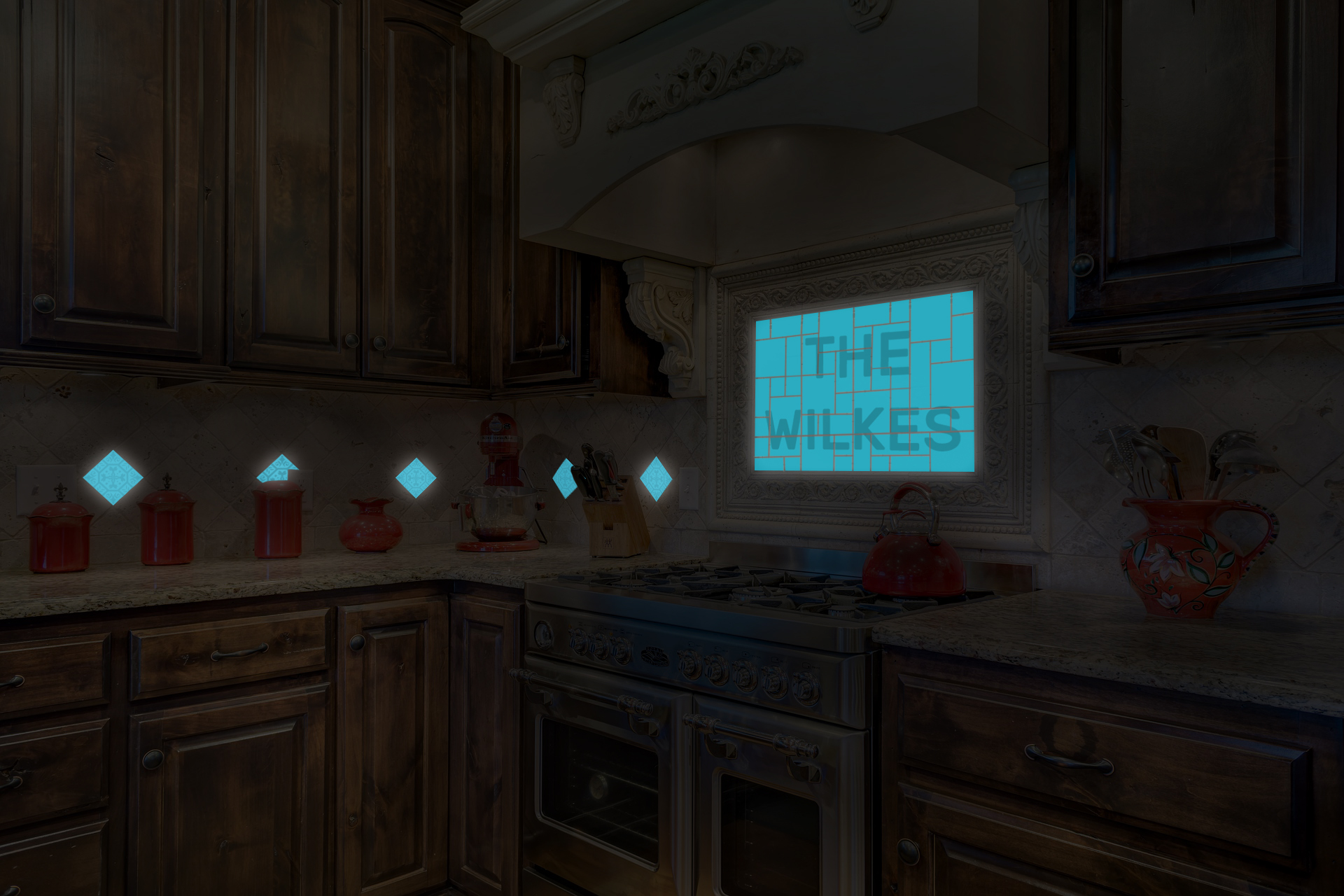 Kitchen Glowing Glass Tiles